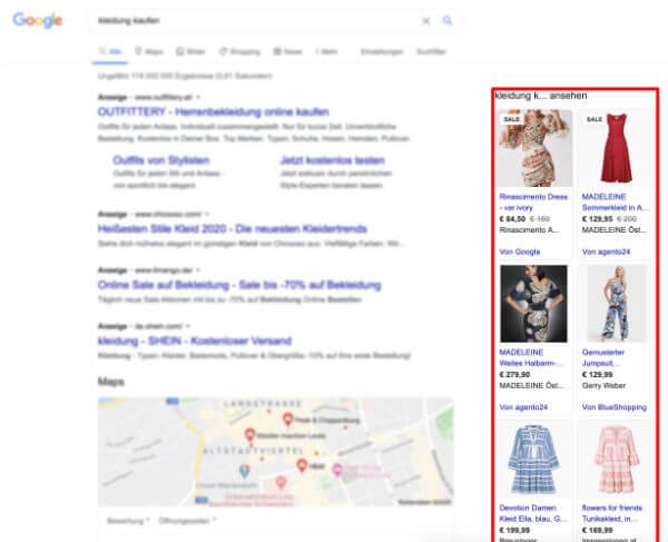 Google Shopping Anzeigen in den Suchergenissen