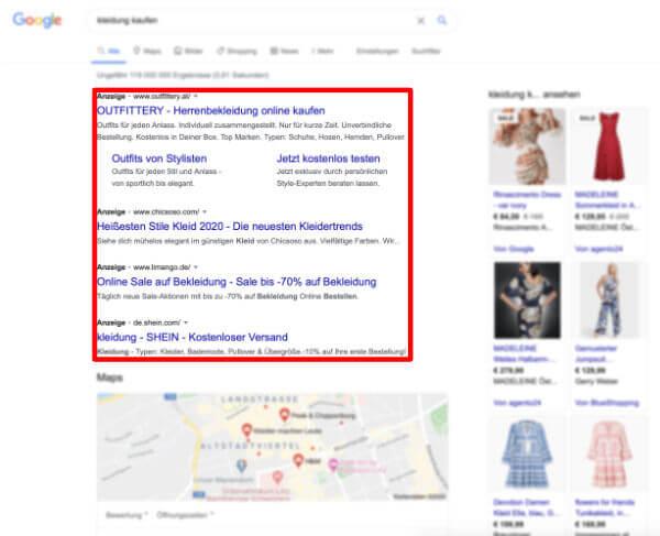 Textanzeigen in den Google Suchergebnissen